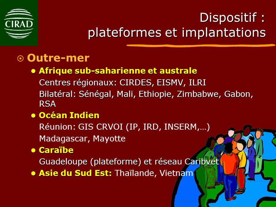 Dispositif : plateformes et implantations Outre-mer Afrique sub-saharienne et australe Afrique sub-saharienne et australe Centres régionaux: CIRDES, E