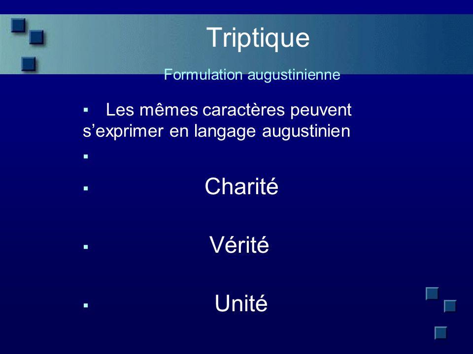 Triptique Formulation augustinienne Les mêmes caractères peuvent sexprimer en langage augustinien Charité Vérité Unité