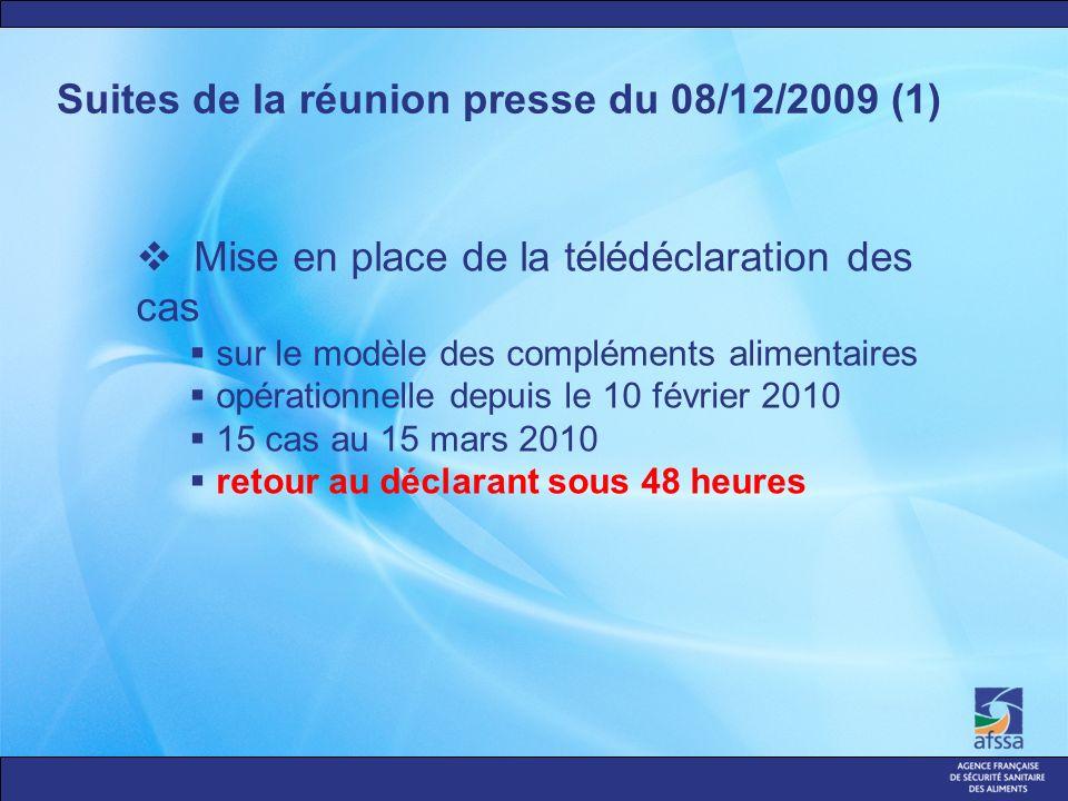 Suites de la réunion presse du 08/12/2009 (1) Mise en place de la télédéclaration des cas sur le modèle des compléments alimentaires opérationnelle depuis le 10 février 2010 15 cas au 15 mars 2010 retour au déclarant sous 48 heures
