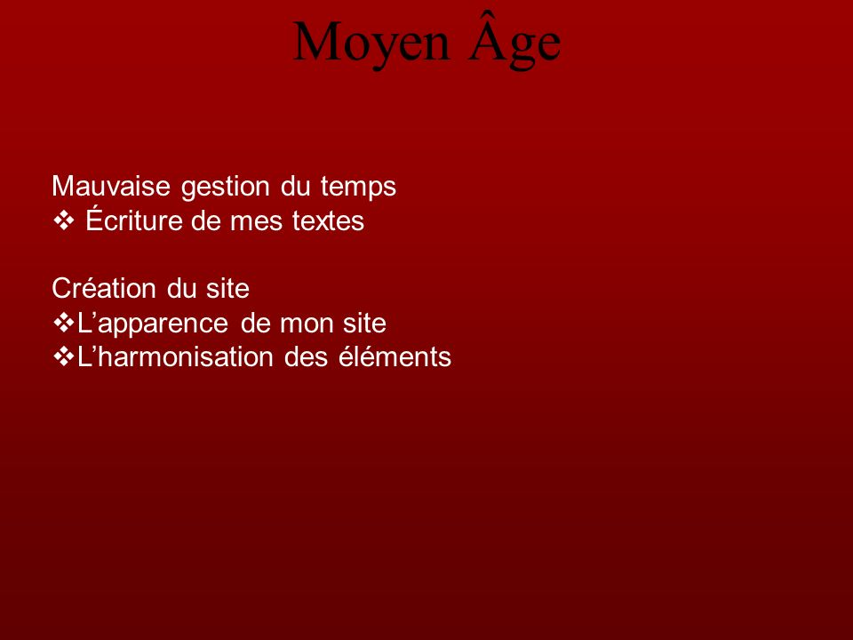 Mauvaise gestion du temps Écriture de mes textes Création du site Lapparence de mon site Lharmonisation des éléments Moyen Âge