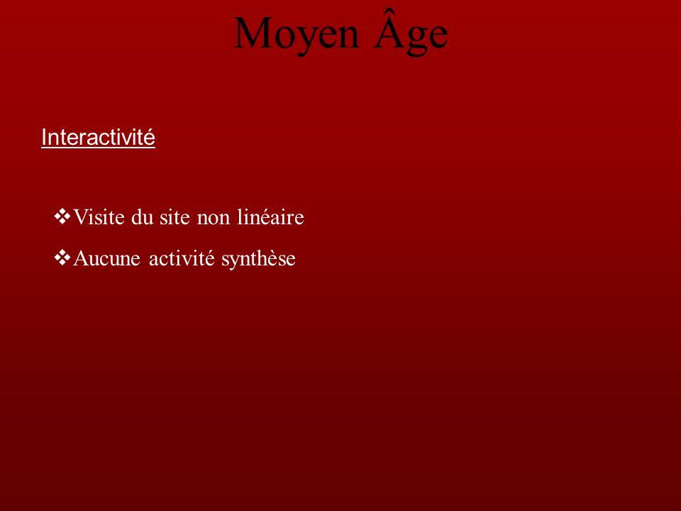 Interactivité Visite du site non linéaire Aucune activité synthèse Moyen Âge