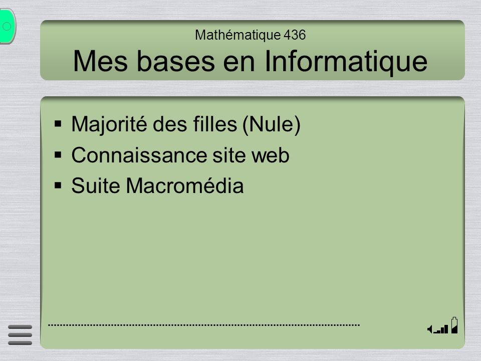 Mathématique 436 Mes bases en Informatique Majorité des filles (Nule) Connaissance site web Suite Macromédia