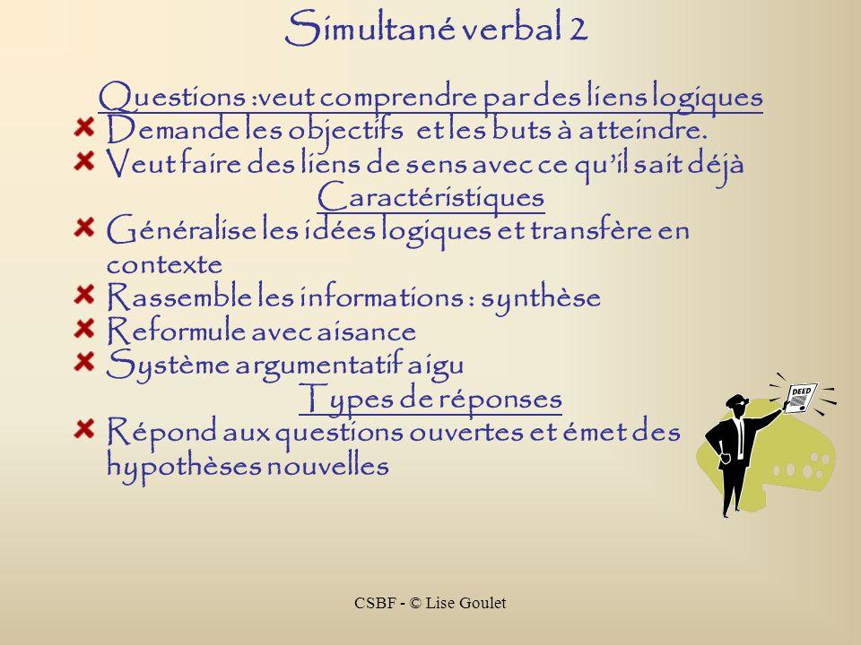 CSBF - © Lise Goulet Simultané verbal 2 Questions :veut comprendre par des liens logiques Demande les objectifs et les buts à atteindre. Veut faire de