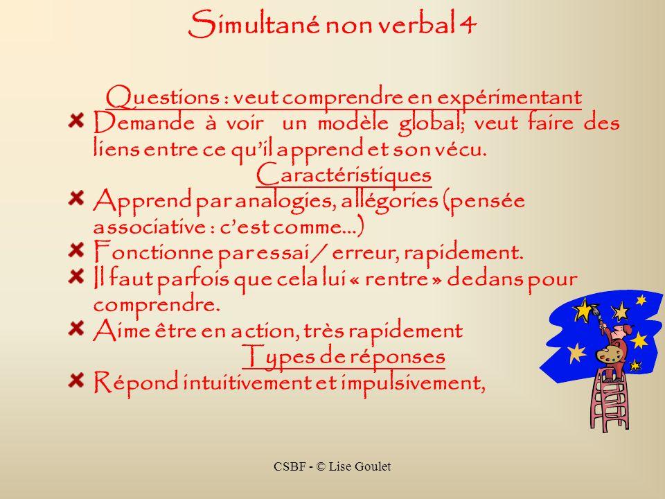 CSBF - © Lise Goulet Simultané non verbal 4 Questions : veut comprendre en expérimentant Demande à voir un modèle global; veut faire des liens entre c