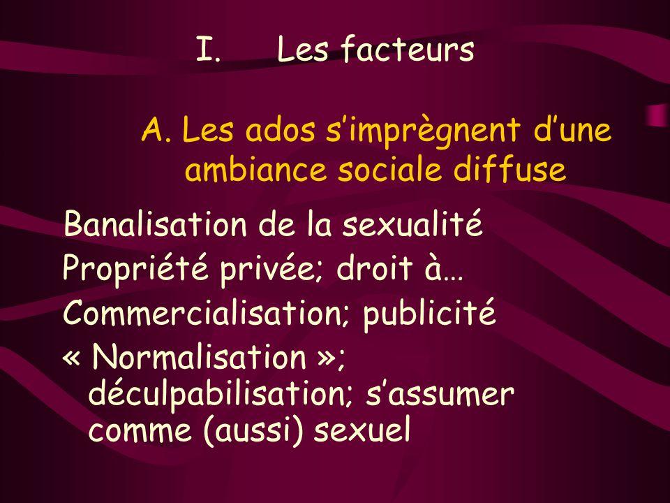 I.Les facteurs A. Les ados simprègnent dune ambiance sociale diffuse Banalisation de la sexualité Propriété privée; droit à… Commercialisation; public