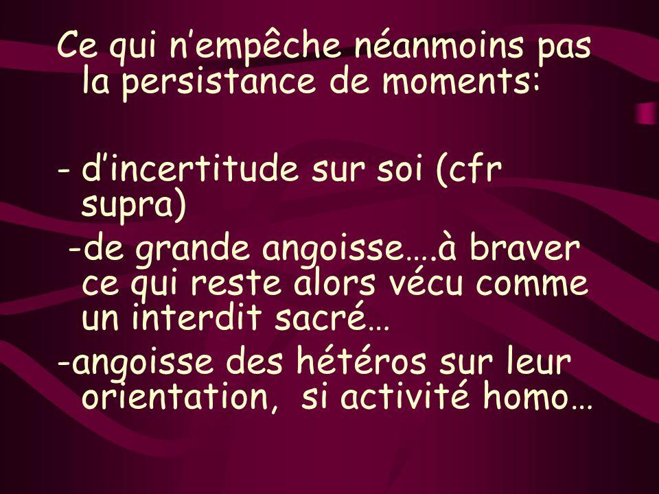 Ce qui nempêche néanmoins pas la persistance de moments: -dincertitude sur soi (cfr supra) -de grande angoisse….à braver ce qui reste alors vécu comme un interdit sacré… -angoisse des hétéros sur leur orientation, si activité homo…