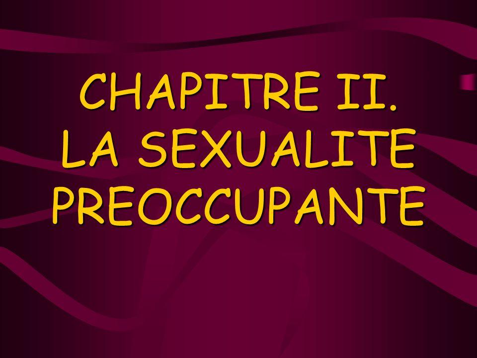 CHAPITRE II. LA SEXUALITE PREOCCUPANTE