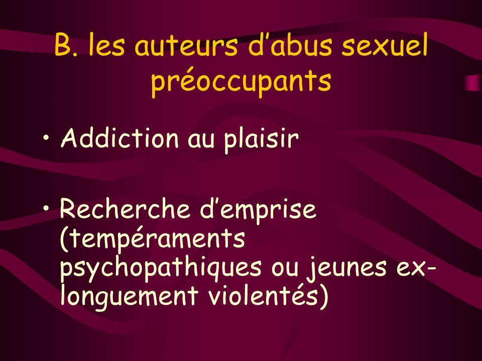 B. les auteurs dabus sexuel préoccupants Addiction au plaisir Recherche demprise (tempéraments psychopathiques ou jeunes ex- longuement violentés)