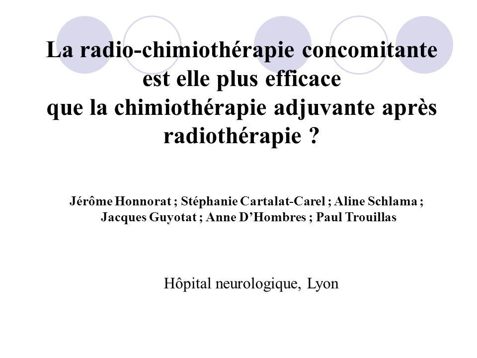Etude rétrospective des patients présentant un glioblastome traités dans le service de neurologie B de lhôpital neurologique de Lyon par deux modalit é s : Analyse des données (logiciel SPSS 12.0) : - MUPHORAN ® : 46 patients (1998-2006) Radiothérapie puis Muphoran 100mg/m 2 (1x/semaine x3 puis 1x/mois) -TEMODAL ® CONCOMITTANT : 33 patients (2004-2006) Protocole de Stupp Question : La radio-chimiothérapie concomitante par Témodal ® selon le protocole de Stupp a-t-elle apportée un bénéfice mesurable pour la survie de nos patients présentant un glioblastome .