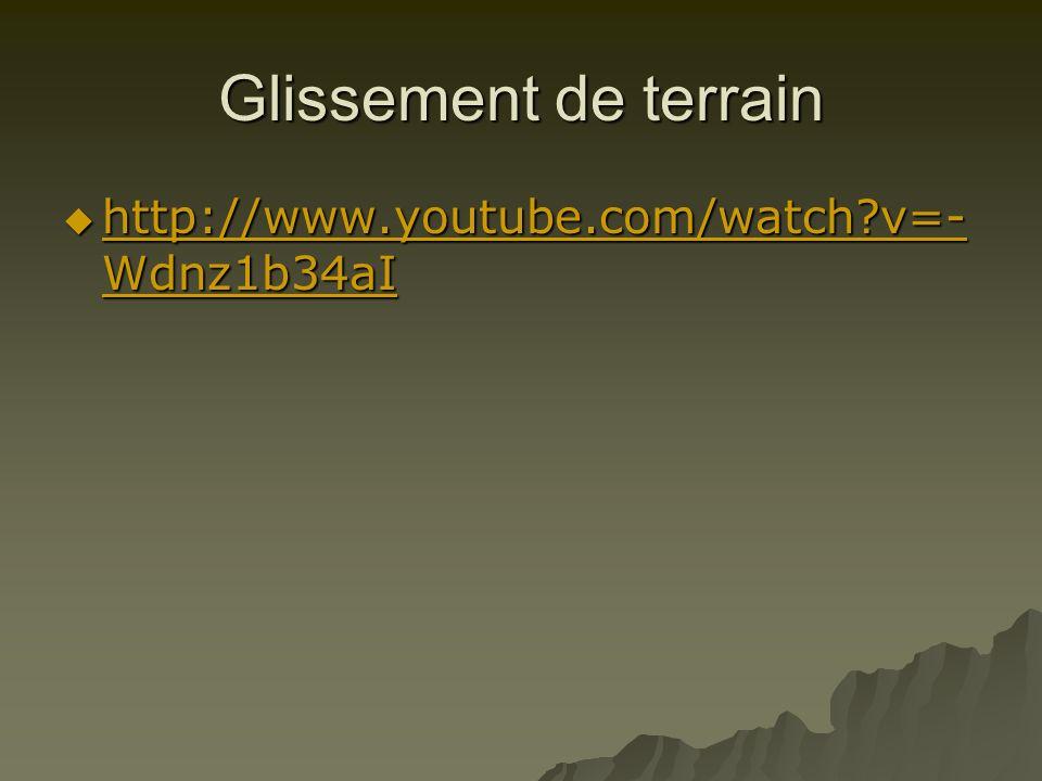 Glissement de terrain http://www.youtube.com/watch?v=- Wdnz1b34aI http://www.youtube.com/watch?v=- Wdnz1b34aI http://www.youtube.com/watch?v=- Wdnz1b3