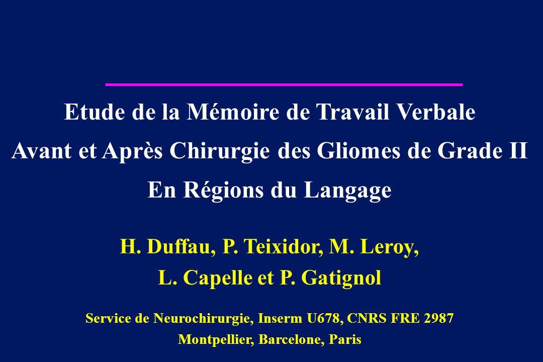 Etude de la Mémoire de Travail Verbale Avant et Après Chirurgie des Gliomes de Grade II En Régions du Langage H. Duffau, P. Teixidor, M. Leroy, L. Cap