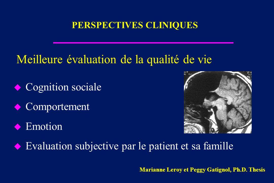 Meilleure évaluation de la qualité de vie u Cognition sociale u Comportement u Emotion u Evaluation subjective par le patient et sa famille PERSPECTIV
