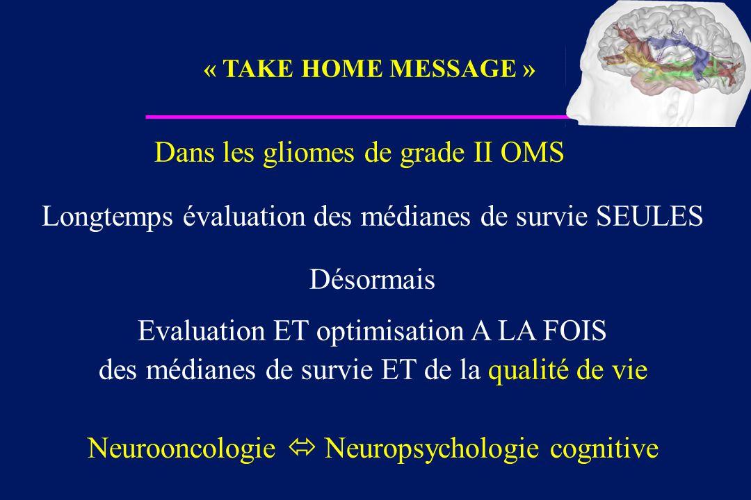 Dans les gliomes de grade II OMS Longtemps évaluation des médianes de survie SEULES Désormais Evaluation ET optimisation A LA FOIS des médianes de sur