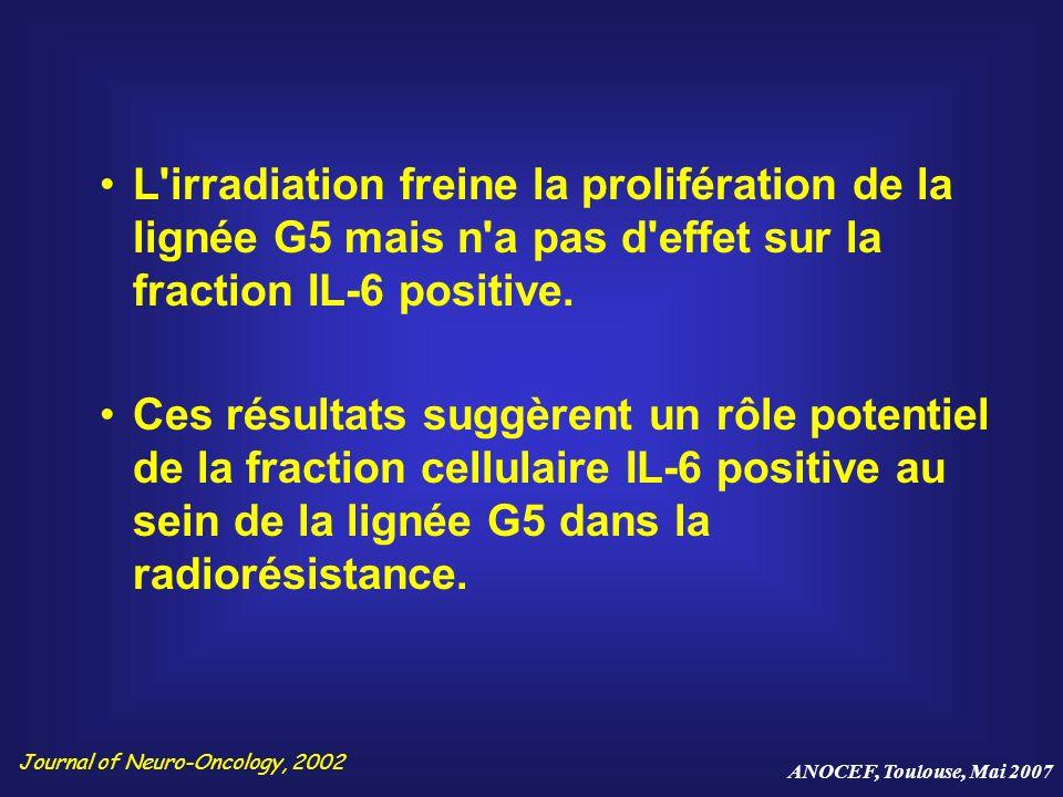 L'irradiation freine la prolifération de la lignée G5 mais n'a pas d'effet sur la fraction IL-6 positive. Ces résultats suggèrent un rôle potentiel de