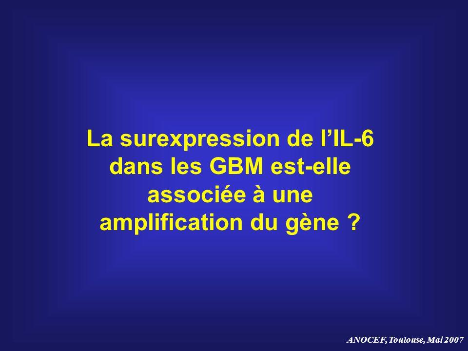 ANOCEF, Toulouse, Mai 2007 La surexpression de lIL-6 dans les GBM est-elle associée à une amplification du gène ?