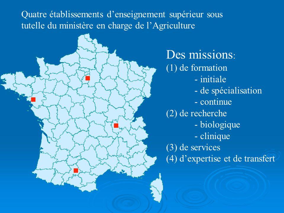 Quatre établissements denseignement supérieur sous tutelle du ministère en charge de lAgriculture Des missions : (1) de formation - initiale - de spéc