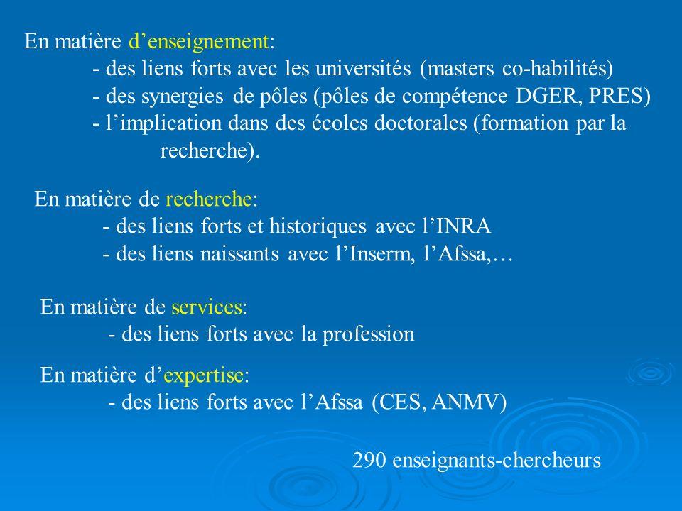 En matière denseignement: - des liens forts avec les universités (masters co-habilités) - des synergies de pôles (pôles de compétence DGER, PRES) - li