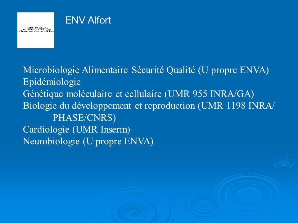 ENV Alfort Microbiologie Alimentaire Sécurité Qualité (U propre ENVA) Epidémiologie Génétique moléculaire et cellulaire (UMR 955 INRA/GA) Biologie du