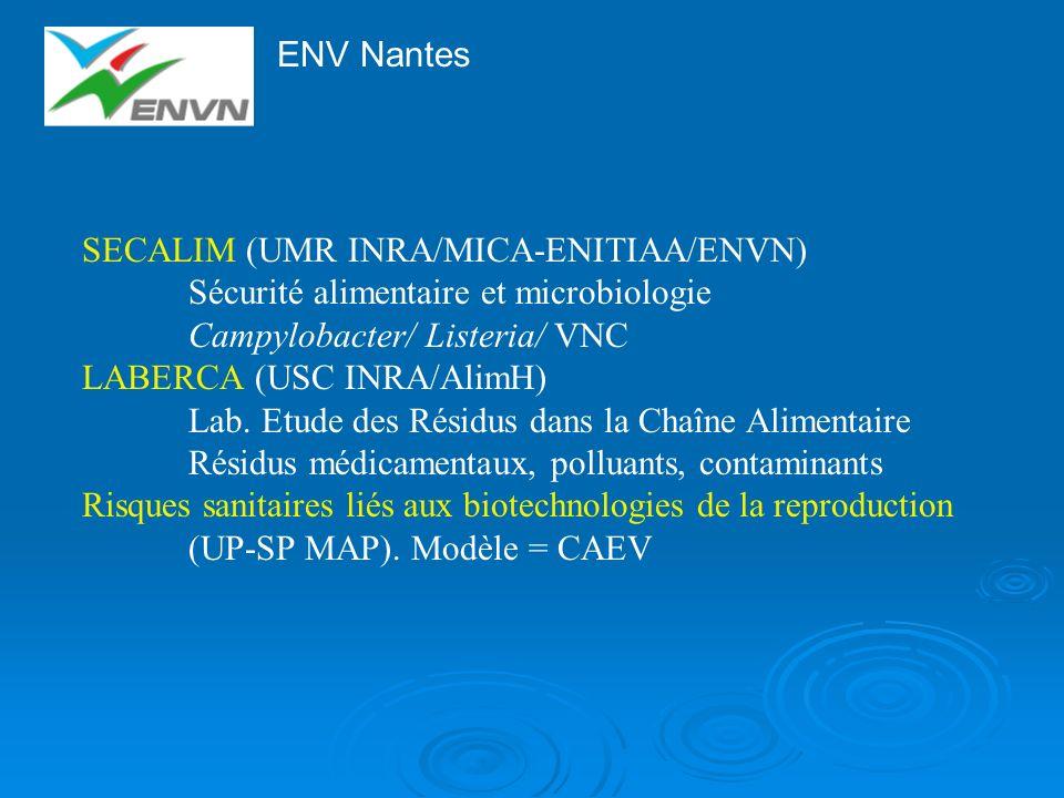 ENV Nantes SECALIM (UMR INRA/MICA-ENITIAA/ENVN) Sécurité alimentaire et microbiologie Campylobacter/ Listeria/ VNC LABERCA (USC INRA/AlimH) Lab. Etude