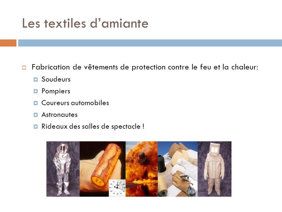Les textiles damiante Fabrication de vêtements de protection contre le feu et la chaleur: Soudeurs Pompiers Coureurs automobiles Astronautes Rideaux d