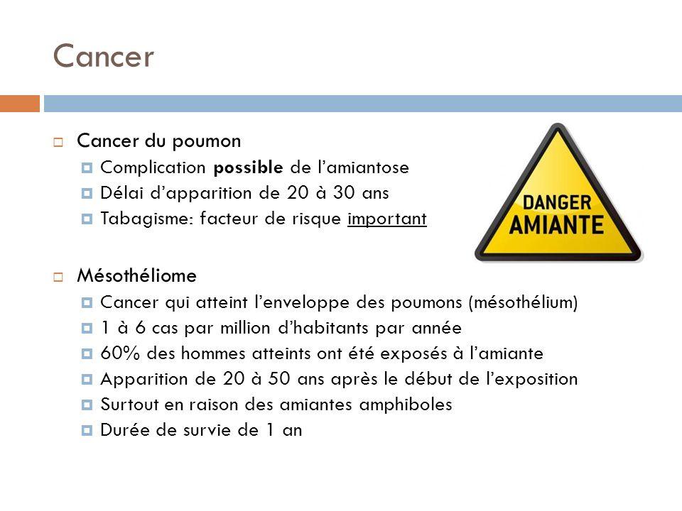 Cancer Cancer du poumon Complication possible de lamiantose Délai dapparition de 20 à 30 ans Tabagisme: facteur de risque important Mésothéliome Cance