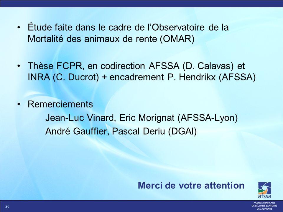 Merci de votre attention 20 Étude faite dans le cadre de lObservatoire de la Mortalité des animaux de rente (OMAR) Thèse FCPR, en codirection AFSSA (D
