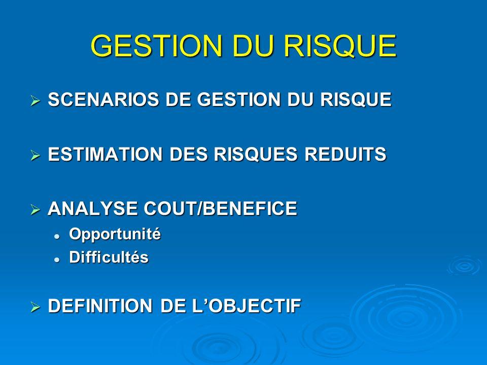 GESTION DU RISQUE SCENARIOS DE GESTION DU RISQUE SCENARIOS DE GESTION DU RISQUE ESTIMATION DES RISQUES REDUITS ESTIMATION DES RISQUES REDUITS ANALYSE COUT/BENEFICE ANALYSE COUT/BENEFICE Opportunité Opportunité Difficultés Difficultés DEFINITION DE LOBJECTIF DEFINITION DE LOBJECTIF
