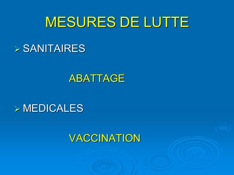MESURES DE LUTTE SANITAIRES SANITAIRES ABATTAGE ABATTAGE MEDICALES MEDICALES VACCINATION VACCINATION