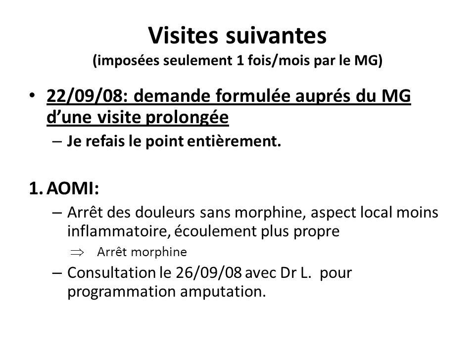 Visites suivantes (imposées seulement 1 fois/mois par le MG) 22/09/08: demande formulée auprés du MG dune visite prolongée – Je refais le point entièr