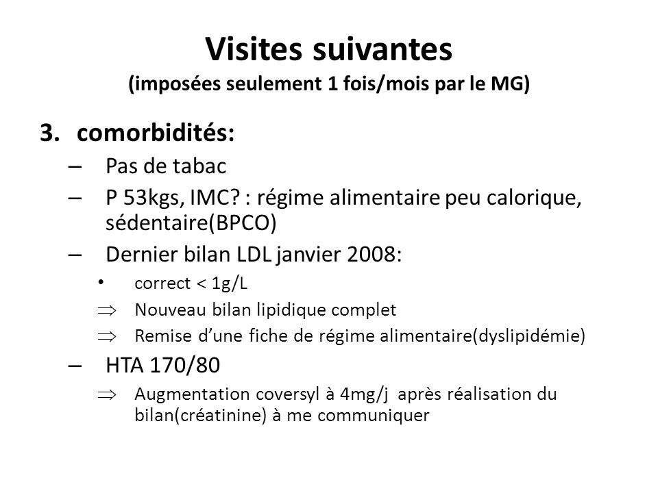 Visites suivantes (imposées seulement 1 fois/mois par le MG) 3.comorbidités: – Pas de tabac – P 53kgs, IMC? : régime alimentaire peu calorique, sédent