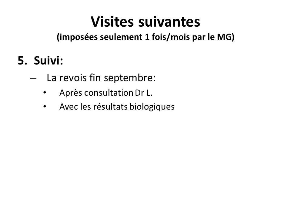 Visites suivantes (imposées seulement 1 fois/mois par le MG) 5.Suivi: – La revois fin septembre: Après consultation Dr L. Avec les résultats biologiqu