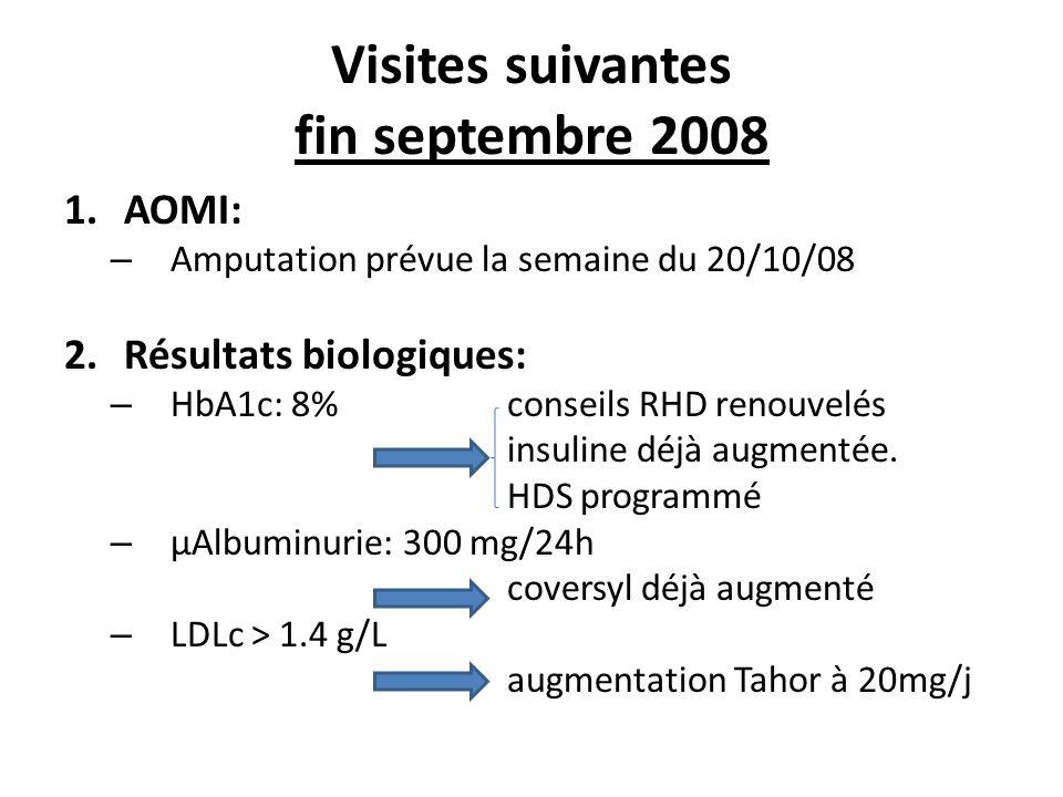 Visites suivantes fin septembre 2008 1.AOMI: – Amputation prévue la semaine du 20/10/08 2.Résultats biologiques: – HbA1c: 8% conseils RHD renouvelés i