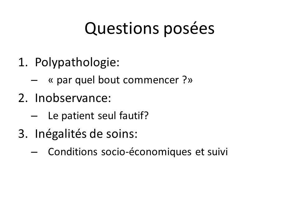 Questions posées 1.Polypathologie: – « par quel bout commencer ?» 2.Inobservance: – Le patient seul fautif? 3.Inégalités de soins: – Conditions socio-