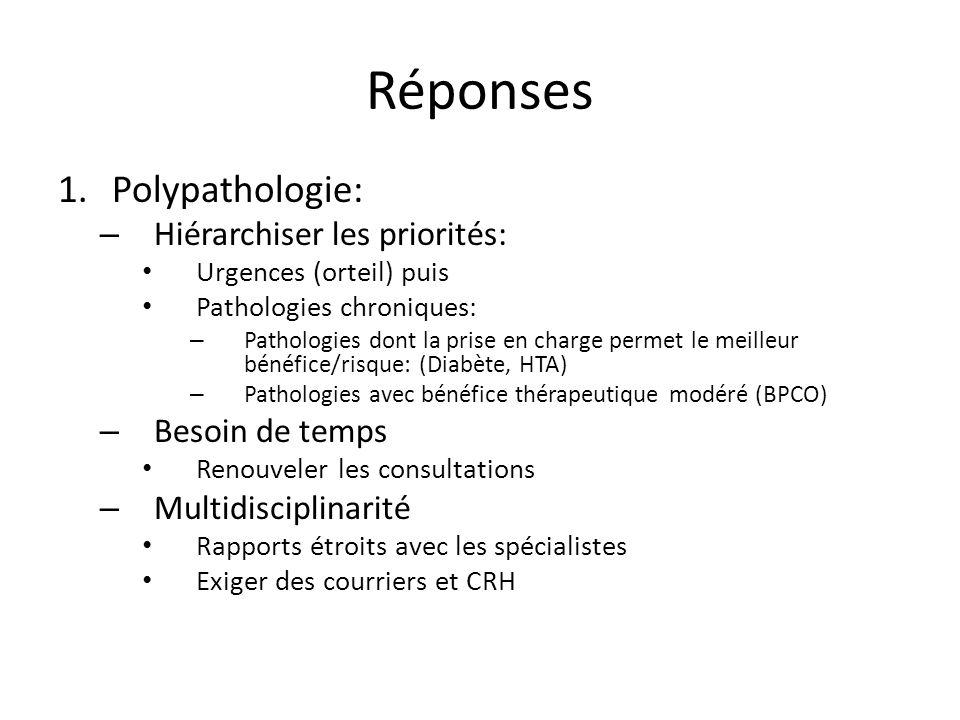 Réponses 1.Polypathologie: – Hiérarchiser les priorités: Urgences (orteil) puis Pathologies chroniques: – Pathologies dont la prise en charge permet l