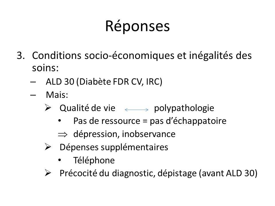 Réponses 3.Conditions socio-économiques et inégalités des soins: – ALD 30 (Diabète FDR CV, IRC) – Mais: Qualité de viepolypathologie Pas de ressource