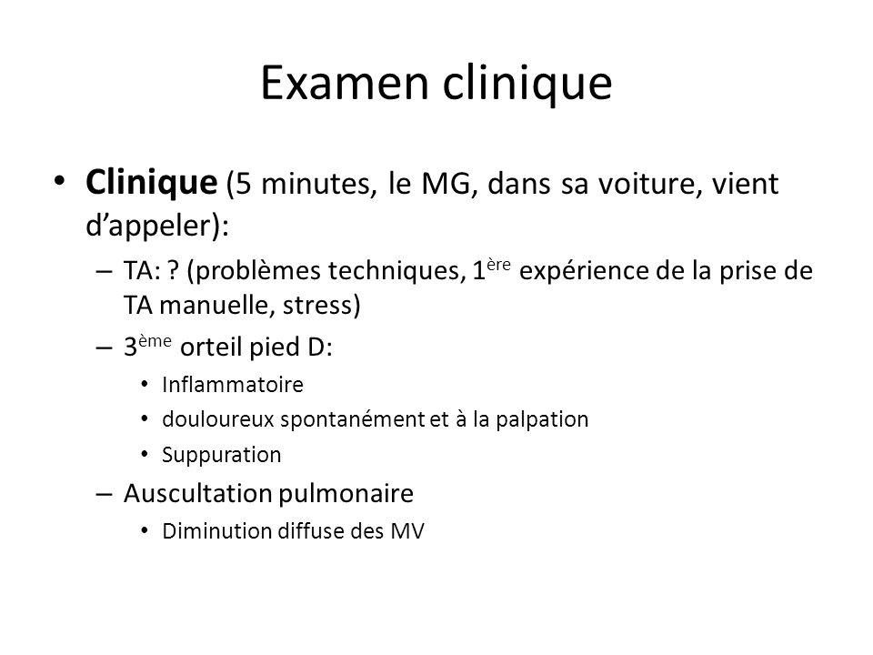 Examen clinique Clinique (5 minutes, le MG, dans sa voiture, vient dappeler): – TA: ? (problèmes techniques, 1 ère expérience de la prise de TA manuel