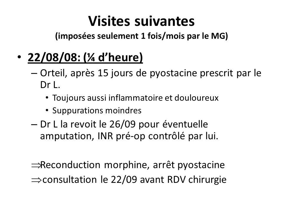 Visites suivantes (imposées seulement 1 fois/mois par le MG) 22/08/08: (¼ dheure) – Orteil, après 15 jours de pyostacine prescrit par le Dr L. Toujour