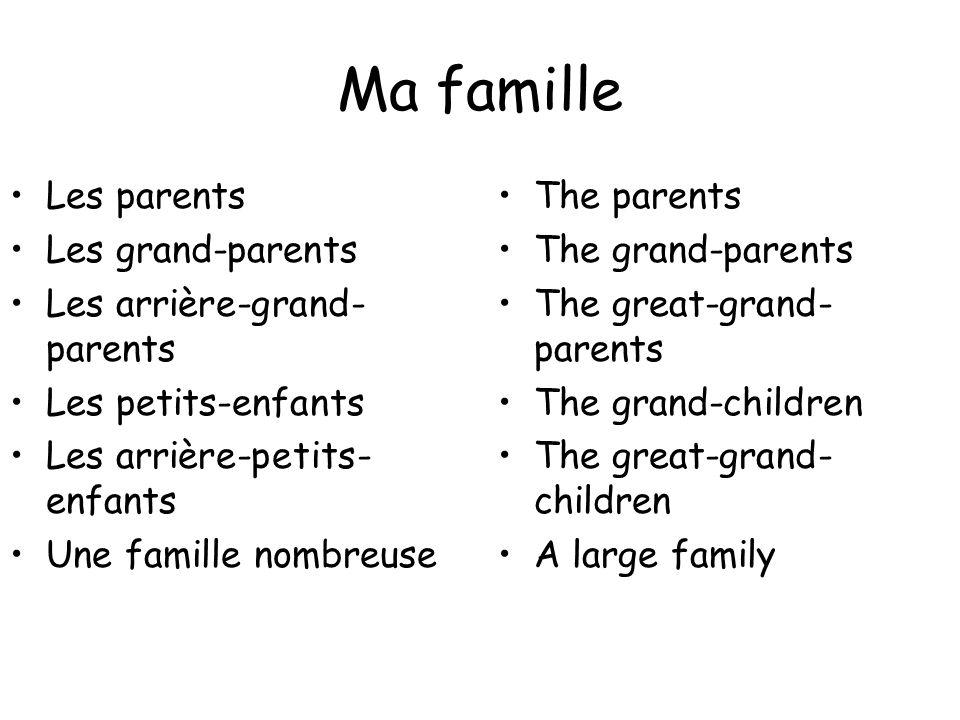 Ma famille Les parents Les grand-parents Les arrière-grand- parents Les petits-enfants Les arrière-petits- enfants Une famille nombreuse The parents T