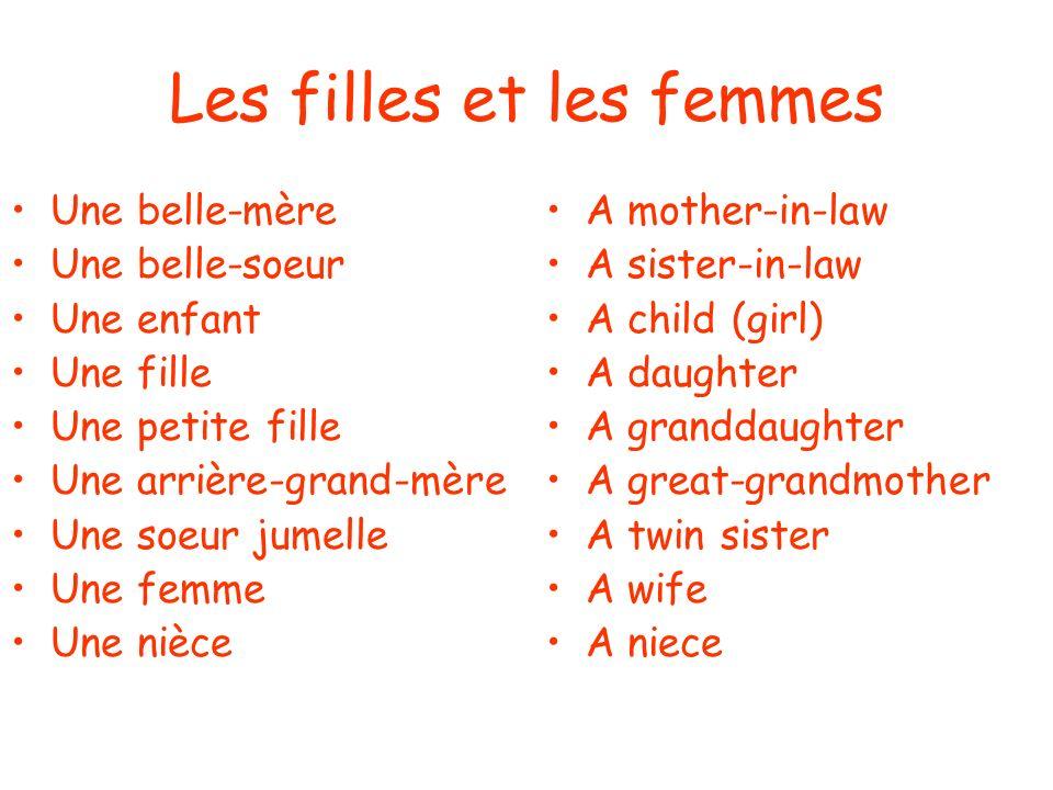 Les filles et les femmes Une belle-mère Une belle-soeur Une enfant Une fille Une petite fille Une arrière-grand-mère Une soeur jumelle Une femme Une nièce