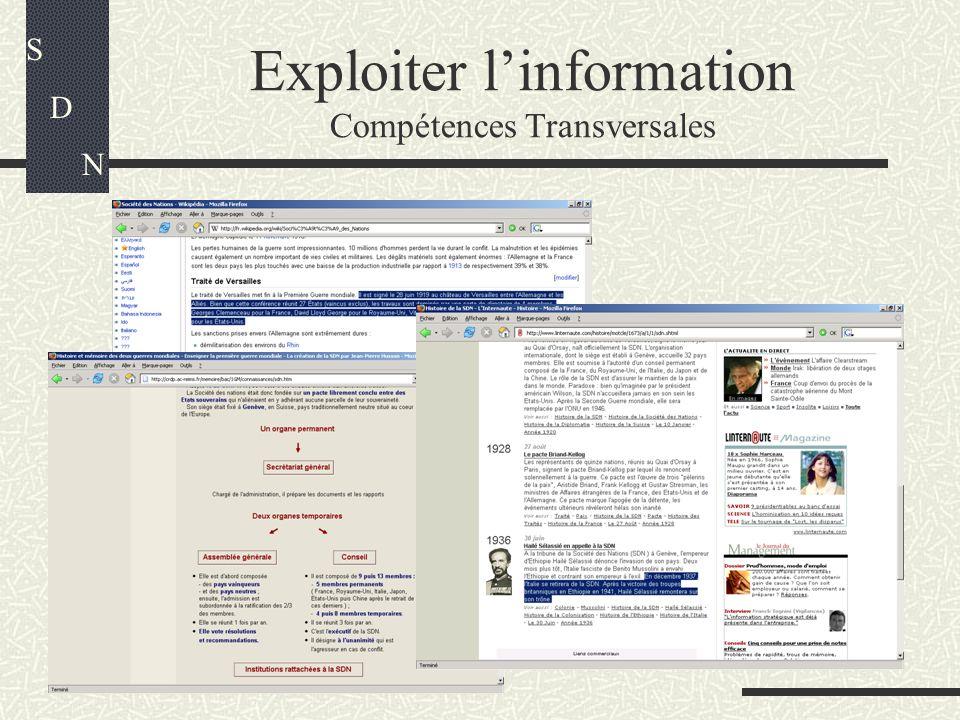 Exploiter linformation Compétences Transversales S D N
