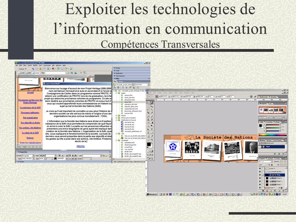 Exploiter les technologies de linformation en communication Compétences Transversales