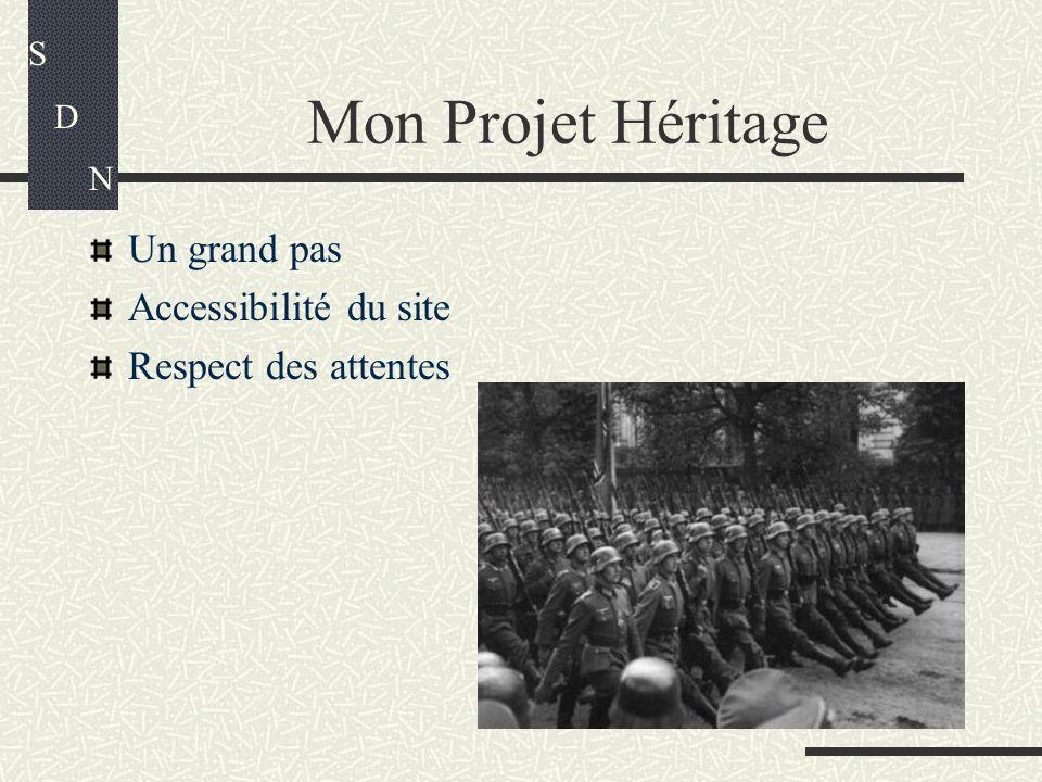 Mon Projet Héritage Un grand pas Accessibilité du site Respect des attentes S D N