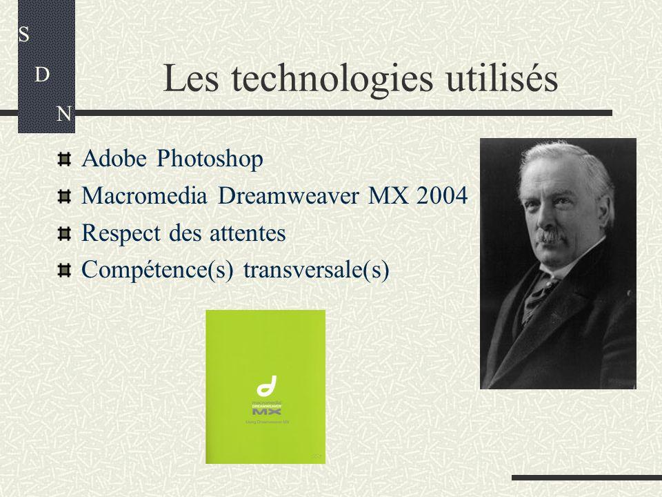 Les technologies utilisés Adobe Photoshop Macromedia Dreamweaver MX 2004 Respect des attentes Compétence(s) transversale(s) S D N