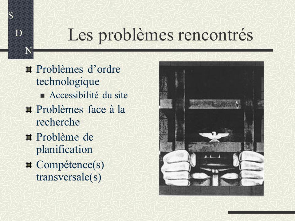 Les problèmes rencontrés S D N Problèmes dordre technologique Accessibilité du site Problèmes face à la recherche Problème de planification Compétence(s) transversale(s)