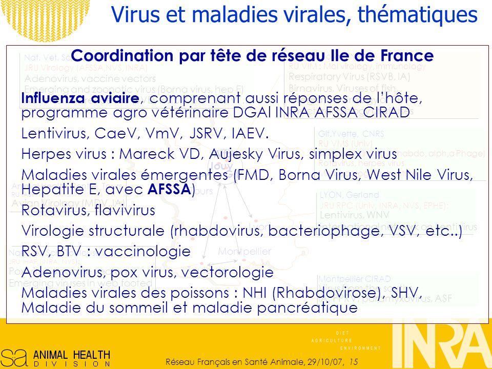 Réseau Français en Santé Animale, 29/10/07, 15 Animal Health Centre, Tours RU IASP Avian Virology (MDV, IA) Jouy en Josas, INRA RU VIM : Mol virology, immunology Respiratory Virus (RSVB, IA) Birnavirus, Viruses of fish, Integrative virology of PRV Structural biology of viruses Nat.