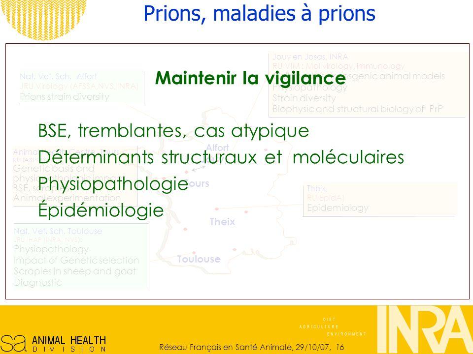 Réseau Français en Santé Animale, 29/10/07, 16 Jouy en Josas, INRA RU VIM : Mol virology, immunology Cell models, transgenic animal models Physiopathology Strain diversity Biophysic and structural biology of PrP Nat.