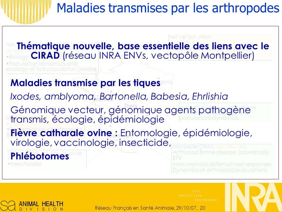 Réseau Français en Santé Animale, 29/10/07, 20 Maladies transmises par les arthropodes Toulouse, Nat.