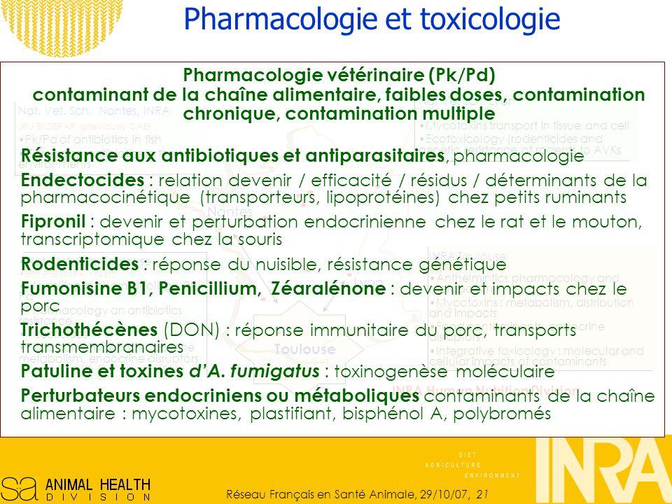 Réseau Français en Santé Animale, 29/10/07, 21 Pharmacologie et toxicologie Nat.