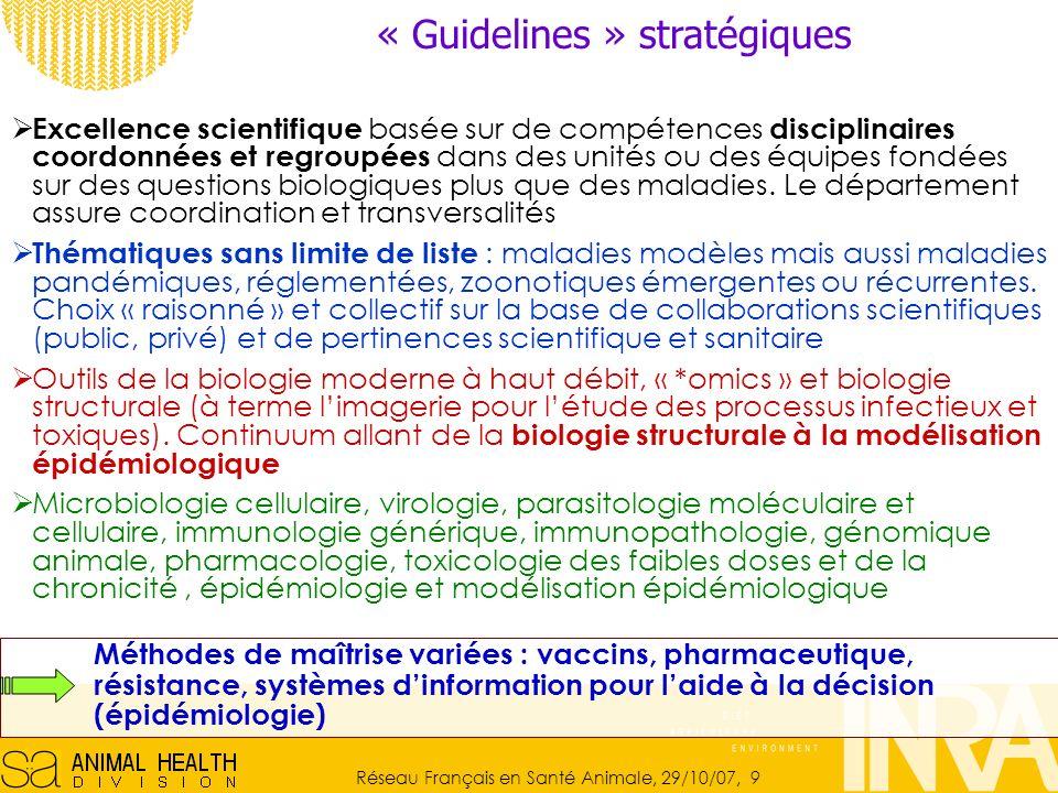Réseau Français en Santé Animale, 29/10/07, 9 « Guidelines » stratégiques Excellence scientifique basée sur de compétences disciplinaires coordonnées et regroupées dans des unités ou des équipes fondées sur des questions biologiques plus que des maladies.