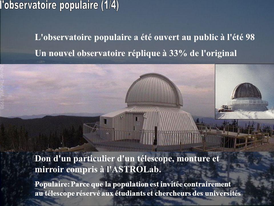 L'observatoire populaire a été ouvert au public à l'été 98 Un nouvel observatoire réplique à 33% de l'original Don d'un particulier d'un télescope, mo